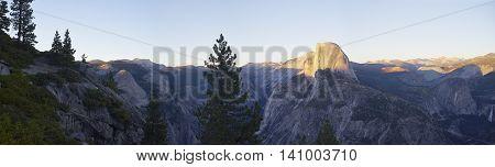 panorama of Half Dome Yosemite at sunset