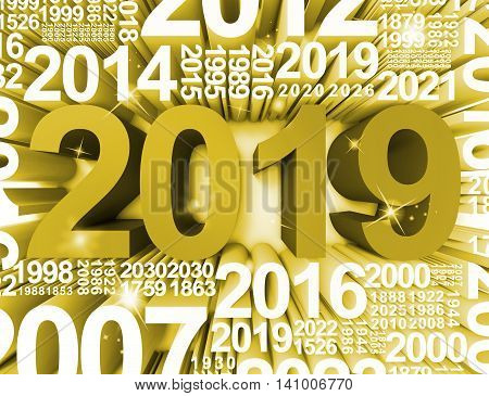 Twenty Nineteen Represents Happy New Year And Annual 3D Rendering