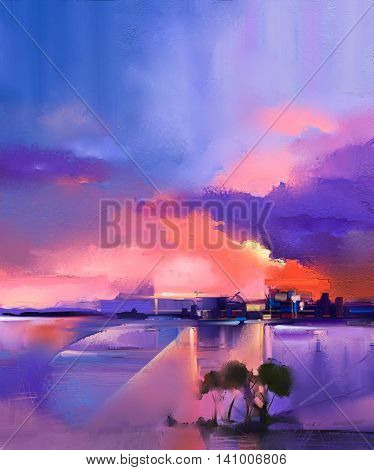 Abstract oil painting background. Twilight sunset colorful orange and purple sky oil painting landscape on canvas. Semi- abstract tree hill and sea. Sunset landscape oil painting nature background