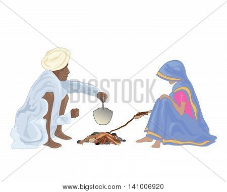 an illustration of an indian couple making tea around a small fire with traditional dress on a white background