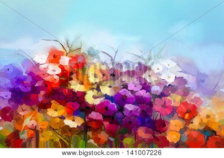 Abstract oil painting whiteyellow red daisy gerbera flower in field. Painting summer spring flowers in meadows landscape. Purple blue sky color background. Hand painted floral Impressionist style