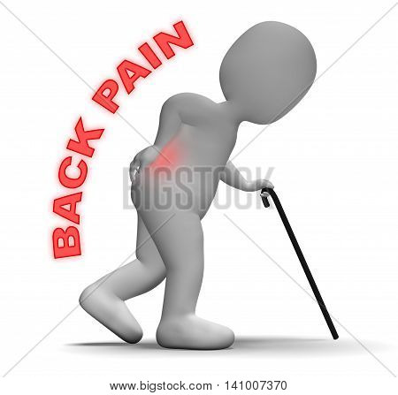 Back Pain Represents Spinal Column And Backbone 3D Rendering