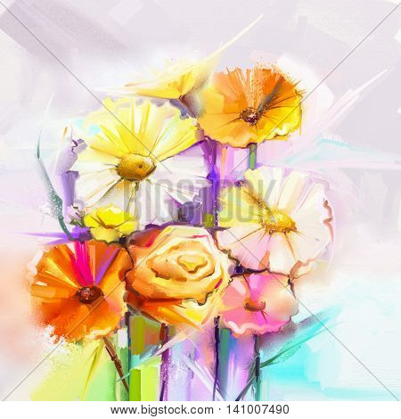 Abstract oil painting spring flower. Still life of yellow, pink, red, gerbera and rose bouquet. Colorful flowers painting with light gray color background. Hand Painted floral Impressionist style