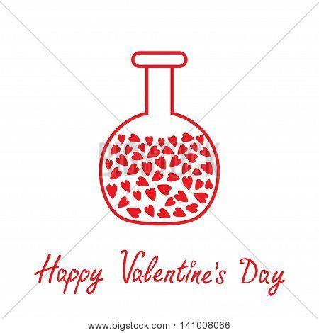 Love round laboratory glass with hearts inside. Thin line icon. Happy Valentines Day card. Flat design. White background. Isolated. Vector illustration.