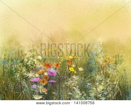 Abstract watercolor painting wildflowers and soft leaves. Vintage watercolor painting flowers in soft color and blur background. Yellow brown color texture on grunge paper background.