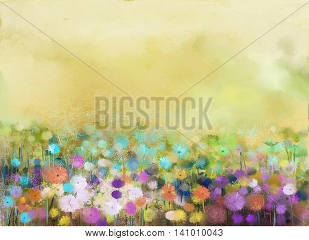 Abstract oil painting flowers plant. Purple cosmos, white daisy, cornflower, wildflower, dandelion flower in fields. Hand painted floral meadow and yellow background. Spring flower nature background.