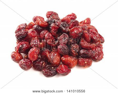 Dried cranberries on a whitebackground healthy food concept