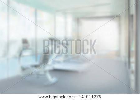 Interior Of Modern Fitness Center Gym With Equipment, Abstract Blur Background