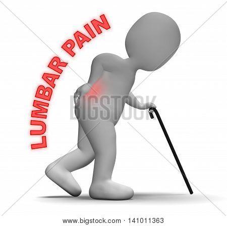 Lumbar Pain Indicates Spinal Column And Agony 3D Rendering