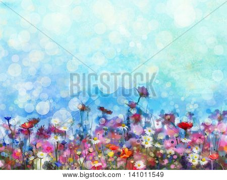 Watercolor painting purple cosmos flower white daisy cornflower wildflower. Flowers meadow green field paintings. Hand painted floral with bokeh and green blue sky. Spring flower nature background