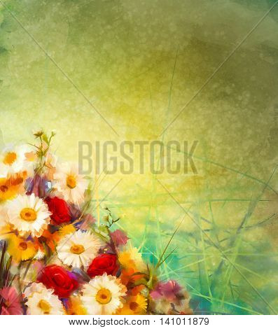 Watercolor painting vintage flowers background with blank space for your design or text. Hand paint still life bouquet of yellow orange white gerbera rose flowers on grunge textures background.