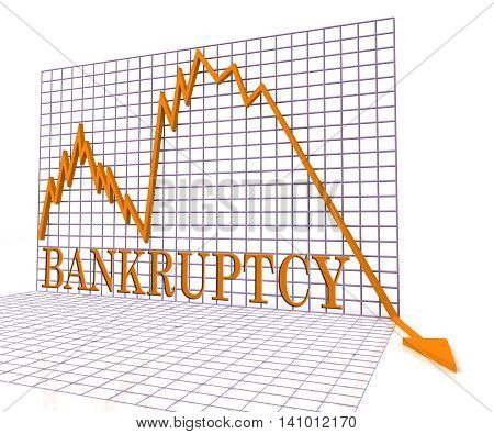 Bankruptcy Graph Means Bad Debt And Chart 3D Rendering