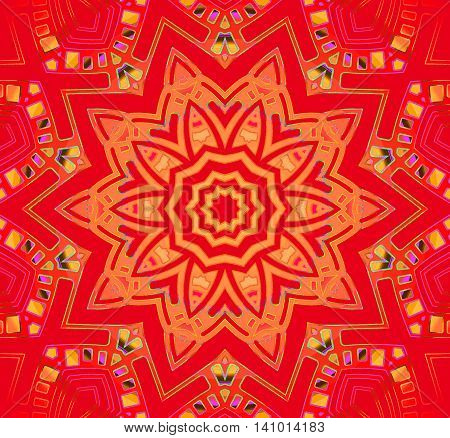 Abstract geometric seamless background. Centered star ornament in yellow orange on red with multicolored elements, conspicuous and dreamy.
