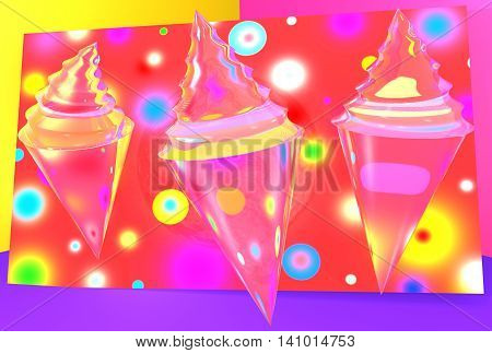 An outstanding element of summer - ice cream on bright colorful background with a predominance of red violet color, silhouette ice cream tube, horn, juicy bright colors, 3D graphics