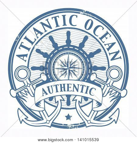 Grunge rubber stamp with the words Atlantic Ocean written inside the stamp