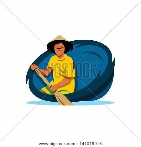 A man with an oar in a round basket. Isolated on a white background