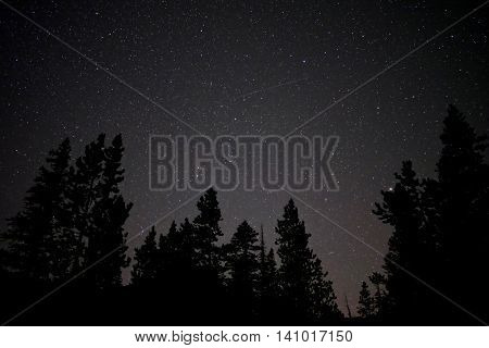 Meteor shower in night sky. Enchntmetn lakes basin near Leavenworth and Seattle WA.