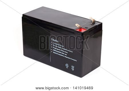 Sealed acid battery isolated on white background