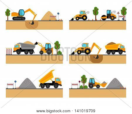 Building site machinery vector illustration. loader and excavator, digger and dumper