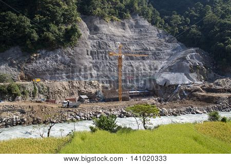 Bhulbhule, Nepal - October 23, 2014: Construction site of the Upper Marsyangdi Hydropower Project in the Annapurna Region