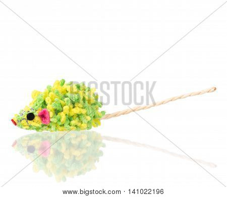 Toy mouse for little kitten isolated on white background