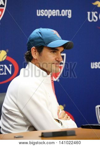 NEW YORK - AUGUST 29, 2015: Seventeen times Grand Slam Champion Roger Federer of Switzerland during press conference before US Open 2015.