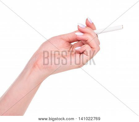 YYoung female hand with cigarette isolated over white bakcground cutout