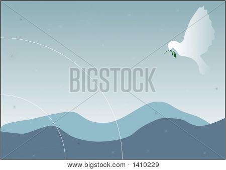 Pigeon Carrying A Green Branch.Eps