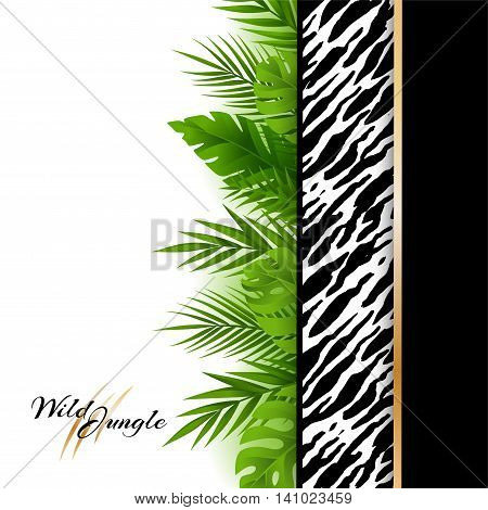 Wild tropical jungle background with tiger pattern and green palm leaves border. Vector card with copy space in material design style.