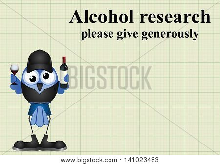 Alcohol research on graph paper background with copy space for own text