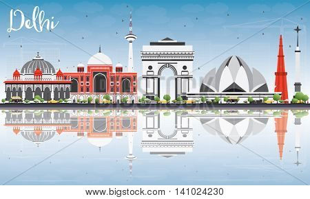 Delhi Skyline with Gray Buildings, Blue Sky and Reflections. Vector Illustration. Business Travel and Tourism Concept with Historic Buildings. Image for Presentation Banner Placard and Web Site.