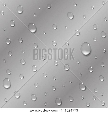 Water drops on a metal background. Rain condensation on a bright steel iron aluminum surface template. Liquid droplets. Light clean dew rainy day abstract techno vector illustration.