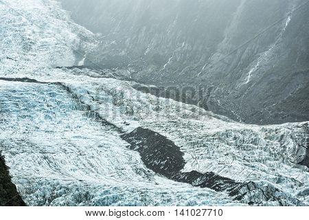 Franz Josef Glacier in heavy rain South Island New Zealand