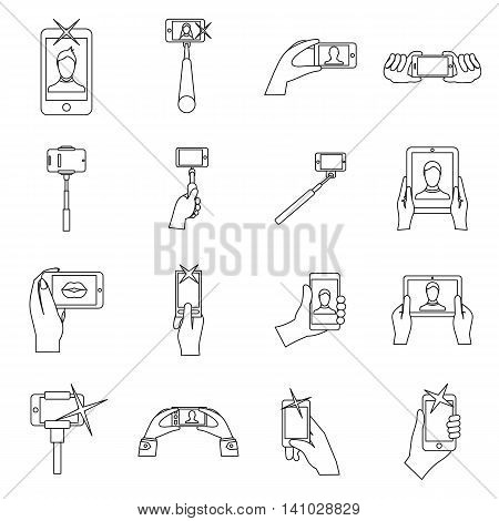 Selfie icons set in outline style. Taking photos with smartphone set collection vector illustration