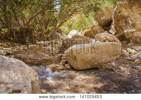 river with cascading little waterfall in an oasis in the desert