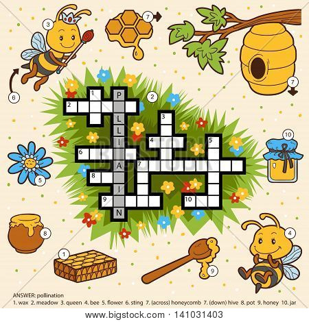 Vector Color Crossword About Honey And Bees