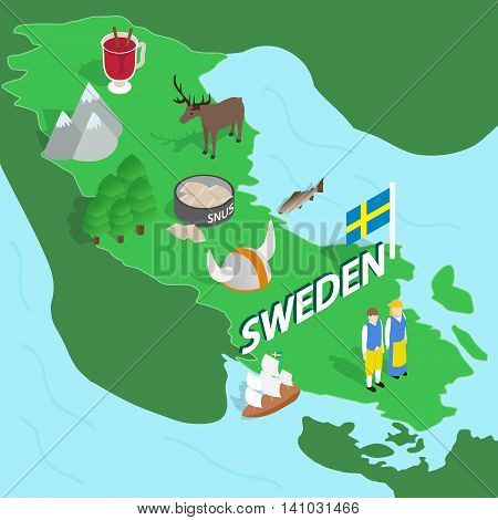 Sweden map in isometric 3d style. Symbols of Sweden set collection vector illustration