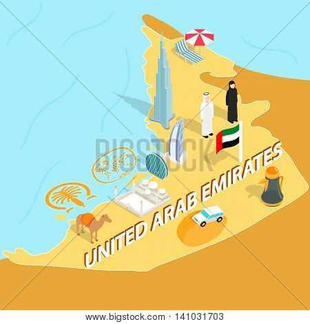 United Arab Emirates map in isometric 3d style. Symbols of UAE set collection vector illustration