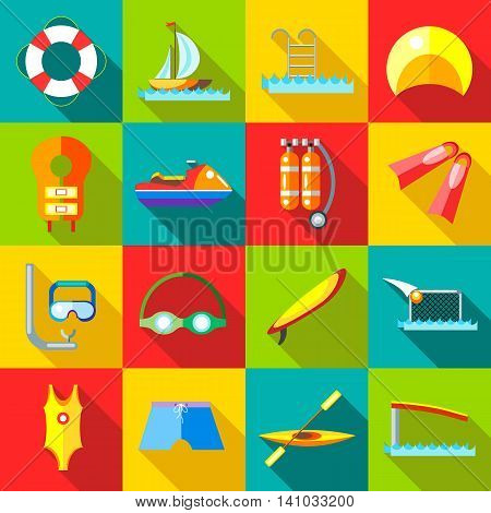 Water sports icons set in flat style. Swimming elements set collection vector illustration
