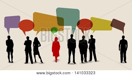 Business People Silhouettes Working and Speech about  social media
