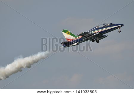 Pesaro Italy - lug 31 2016: The Italian demonstration team Frecce Tricolori air show