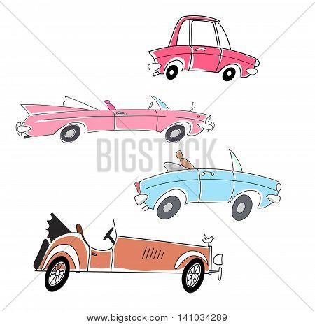 set of cartoon cars vector illustration clip-art