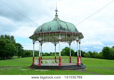 A bandstand in a public park in Dunfermline