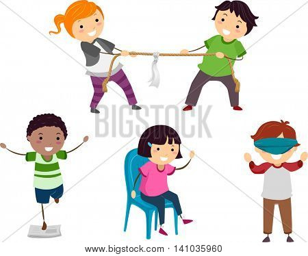 Stickman Illustration of Children Playing Different Parlor Games