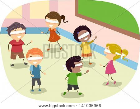Stickman Illustration of Children Playing a Blindfold Game in Class