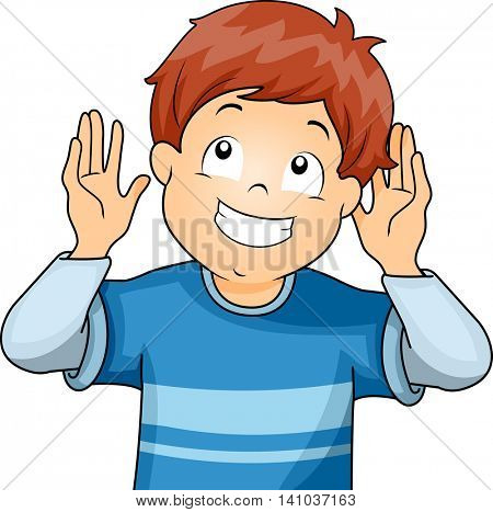 Illustration of a Little Boy Doing the Listening Gesture