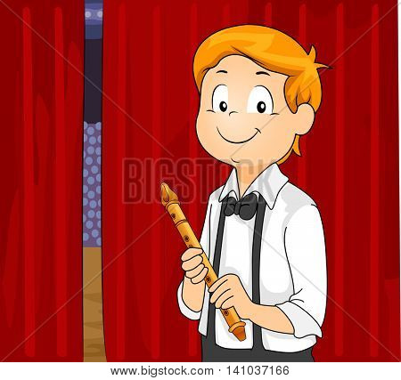 Illustration of a Little Boy Playing the Flute in Front of an Audience