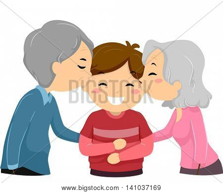 Illustration of Grandparents Kissing Their Grandson on the Cheek