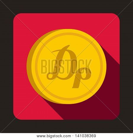 Coin drachma icon in flat style with long shadow. Monetary currency symbol