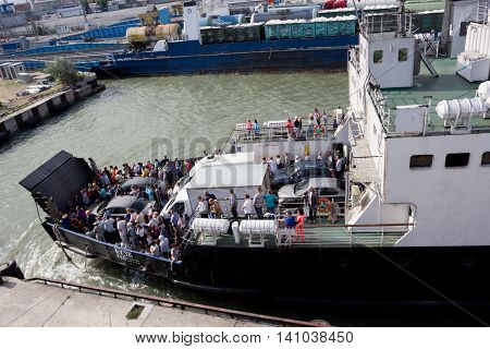 RUSSIA,PORT-KAVKAZ -  JUNE 12, 2014: Car ferry service between Krasnodar region and the Crimea